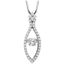 #ROL1002 Dancing Diamonds Pendant in 14K White Gold - 1/2 ctw