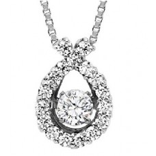 #ROL1003 Dancing Diamonds Pendant in 14K White Gold - 1/2 ctw