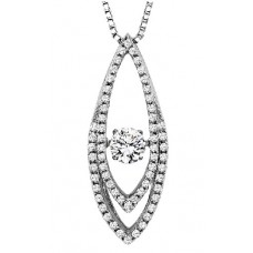 #ROL1005 Dancing Diamonds Pendant in 14K White Gold - 5/8ctw