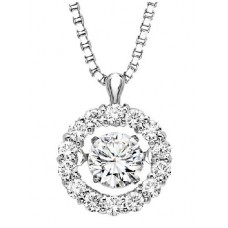 ##ROL1025 Dancing Diamonds Pendant in 10K White Gold - 1/5 ctw