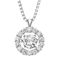 ##WROL1025 Dancing Diamonds Pendant in 10K White Gold - 1/5 ctw