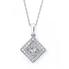 #SD13P23.50 Dancing Diamonds Pendant in 14K White Gold - 1/2 ctw