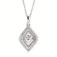 #SD13P25-.50 Dancing Diamonds Pendant in 14k White Gold 1/2ctw