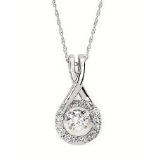 #SD13P27-.40 Dancing Diamonds Pendant in 14k White Gold 3/8ctw