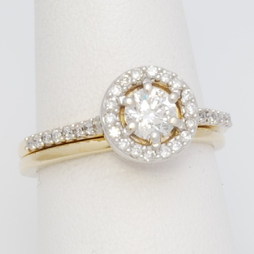 ed51wr 14k two tone halo wedding ring set - Halo Wedding Ring Set