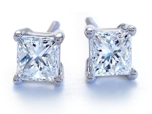 18 Carat Princess Cut Diamond Studs In 14k White Gold
