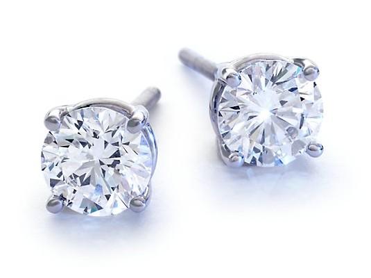 93 Carat Round Brilliant Clarity Enhanced Diamond Studs In 14k