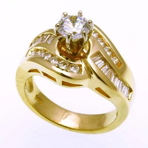 JI N7329 Yellow Gold Diamond Semi Mount Wedding Ring