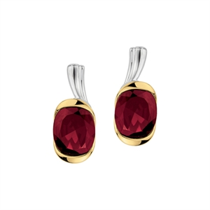 Lze230 Gt Garnet Earrings In Silver And 18k Gold