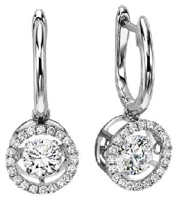 Rol1014 Dancing Diamond Earrings In 14k White Gold 3 4 Ctw